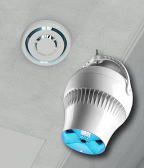 Ventilador de purificação de ar Airius PureAir e duto do bico
